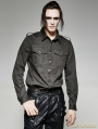 Black and Gray Gothic Military Uniform Men's Shirt