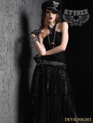 Black Gothic Punk Sexy Strap Vest for Women