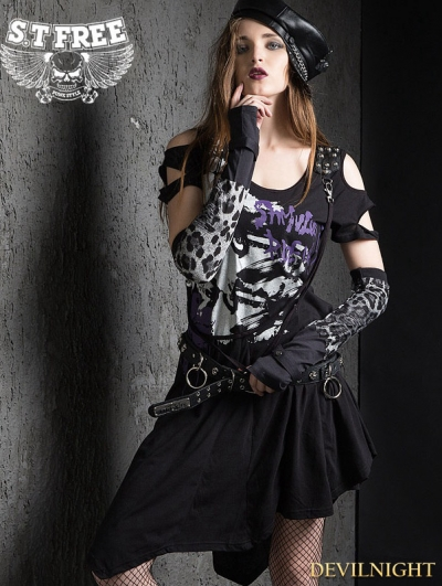 Black Gothic Punk A-Line Asymmetric Dress