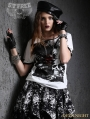 White Gothic Punk Asymmetric Collar Short Sleeves T-Shirt for Women