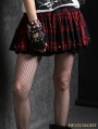 Red Gothic Punk Plaid Bubble Skirt