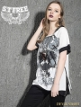 White Gothic Punk Printing Loose Short Sleeves T-Shirt for Women