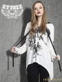 White Gothic Punk Broken Hole Sleeves T-Shirt for Women