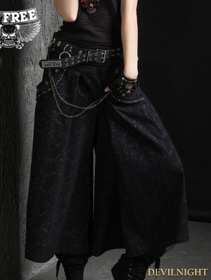 Black Gothic Punk Loose Pants for Women