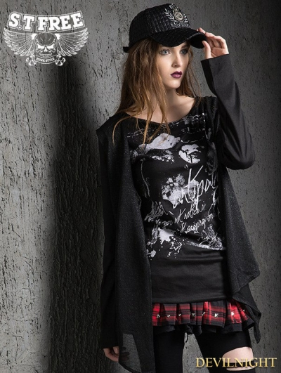 Black Gothic Punk False Two-Piece Loose T-Shirt for Women
