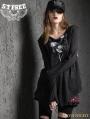 Black Gothic Punk False Two-Piece Loose T-Shirt for Women
