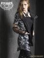 Black and White Gothic Punk Short Sleeves Jacket for Women