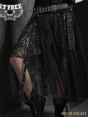 Gothic Punk Leopard Pattern Skirt for Women