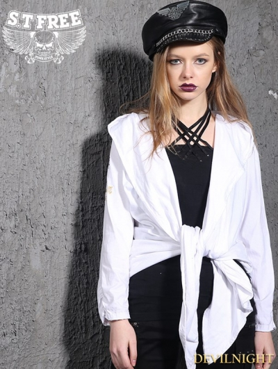 White Gothic Punk Embroidered Hooded Jacket Coat for Women