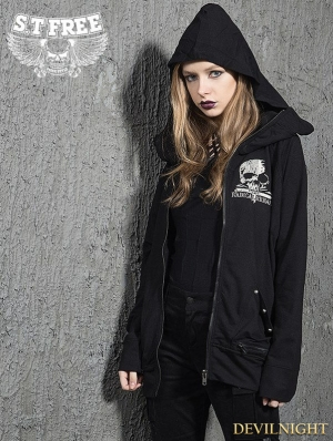 Black Gothic Punk Skull Loose Short Jacket for Women