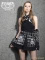 Black Gothic Punk Plaid Short Skirt