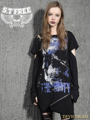 Black Gothic Punk Irregular Broken Hole Sleeves T-Shirt for Women