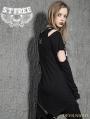 Black Gothic Punk Irregular Broken Hole Sleeves T-Shirt for Women