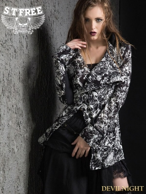 Retro Gothic Punk Printing Long Sleeves Long Shirt for Women