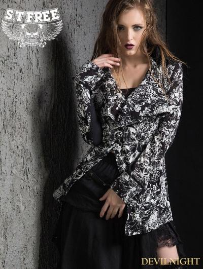 Retro Gothic Punk Printing Long Sleeves Long Shirt for Women