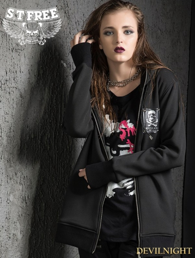 Black Gothic Punk Hooded Loose Short Jacket for Women
