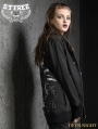 Black Gothic Punk Hooded Loose Short Jacket for Women