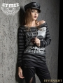Black and Gray Gothic Punk Stripe Long Sleeves T-Shirt for Women