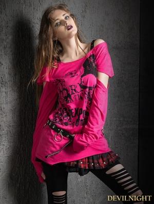 Gothic Punk Asymmetric Short Sleeves T-Shirt for Women