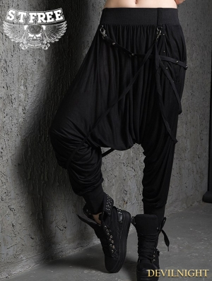 Black Gothic Punk Baggy Pants for Women