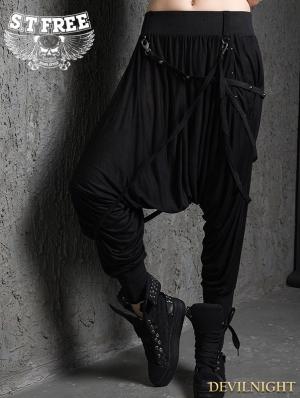 Black Gothic Punk Baggy Pants for Women