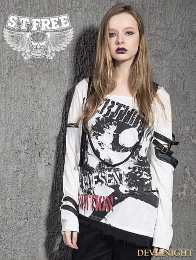 White Gothic Punk Long Sleeves T-Shirt with Belts for Women