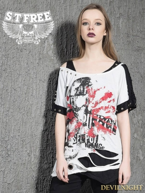 White Gothic Punk Short Sleeves Broken Hole T-Shirt for Women