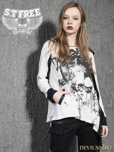 White Gothic Punk Asymmetric Long Sleeves Hooded T-Shirt for Women