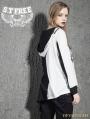 White Gothic Punk Asymmetric Long Sleeves Hooded T-Shirt for Women