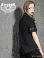 Black Gothic Punk Short Sleeves T-Shirt with Rivets for Women