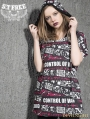 Gothic Punk Printing Hooded Short Sleeves T-Shirt for Women