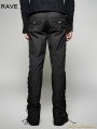 Black Steampunk Ultra-Wide-Leg Trousers for Men
