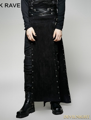 Black Gothic Steampunk Split Skirt for Men