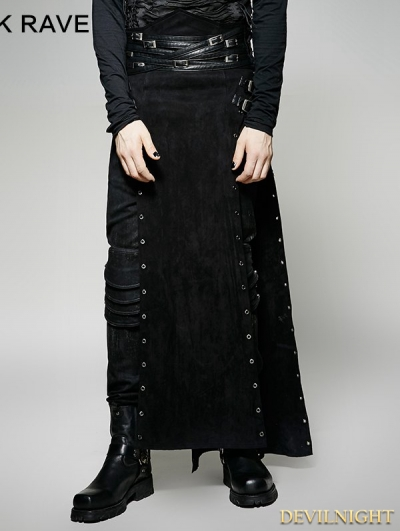 Black Gothic Punk Split Skirt for Men