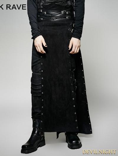 Black Gothic Punk Split Skirt for Men