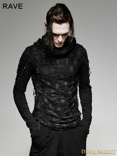 Black Gothic Hole Hooded T-Shirt for Men