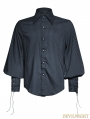 Blue Steampunk Striped Shirt for Men