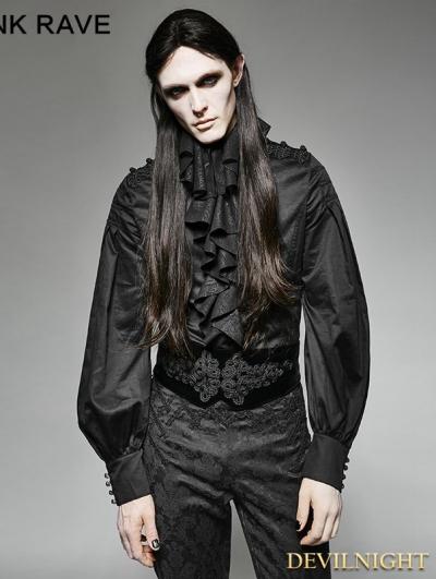 Black Gothic Palace Style Ruffles Men's Shirt