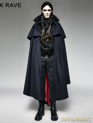 Navy Blue Gothic Vampire Count Cap Coat for Men