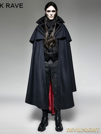 Navy Blue Gothic Vampire Count Cape Coat for Men