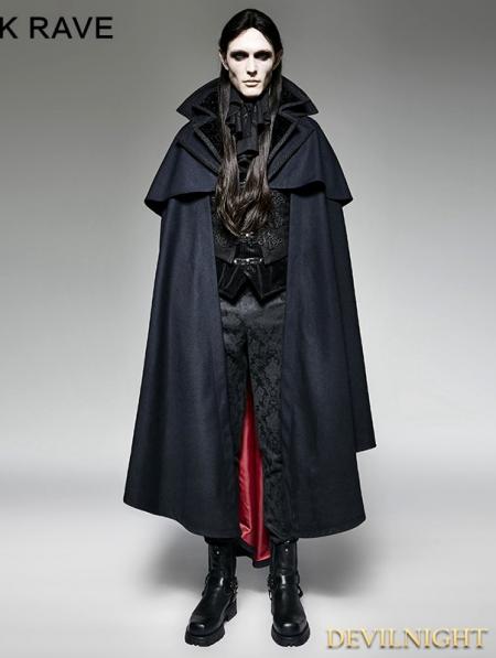 Navy Blue Gothic Vampire Count Cape Coat For Men