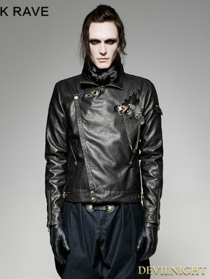 Black Steampunk Short Gear Leather Coat for Men