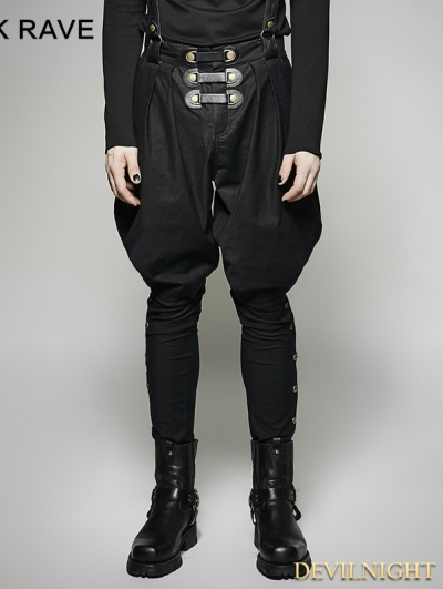 Black Gothic Military Uniform Men's Pantsloak