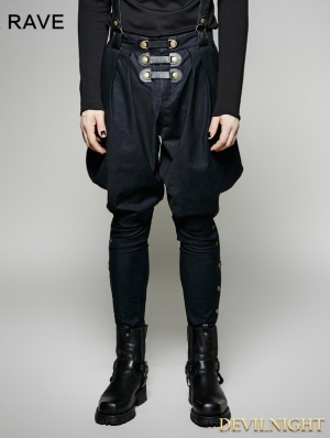 Navy Blue Gothic Military Uniform Men's Pantsloak