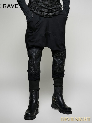 Black Gothic Heavy Punk Harem Pants for Men