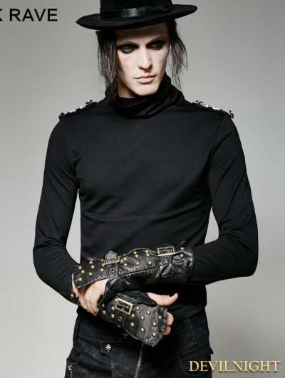 Black Gothic Military Uniform Gauntlet Glove