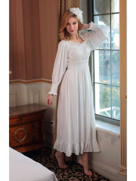 Long Sleeves White Medieval Underwear Chemise Dress - Devilnight.co.uk 805b0f008