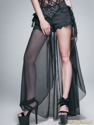 Black Gothic Shorts with Long Back Skirt for Women