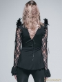 Black Gothic Long Shirt with Feather for Women