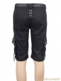 Black Belt Zipper Gothic Punk Short Pants for Men